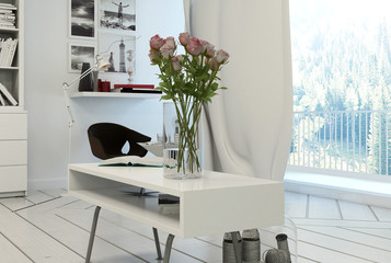 Roses in Vase on Modern Coffee Table