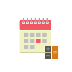 Flat style calendar icon with calculator