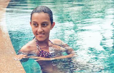 Pretty Indian Woman in Sexy Bra on Swimming Pool