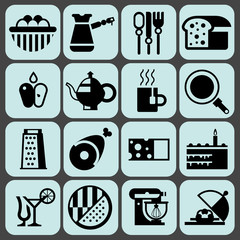 Cooking food icons black