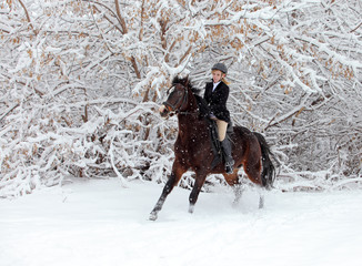 Equestrian riding a snow forest under a heavy snowfall