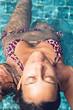 Sensual Woman in Sexy Bikini on the Pool