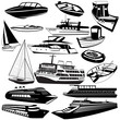 Great vector collection of different boat black icons - 73655924