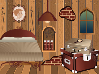cartoon interior - attic