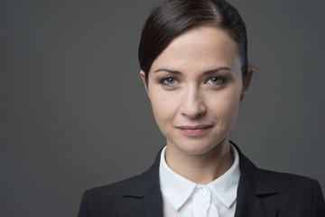 Confident female businesswoman frontal portrait