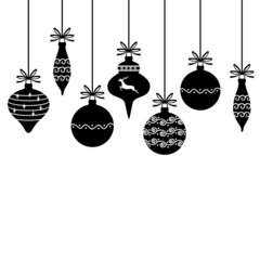 Silhouette of Christmas decorative baubles