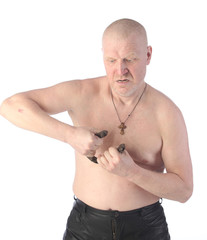 Portrait of an adult man with a naked torso