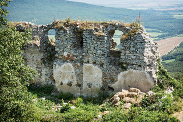 Ruins of the castle Gymes in summer