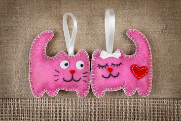 Pink cats in love