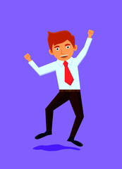 Businessman jumping or dancing image