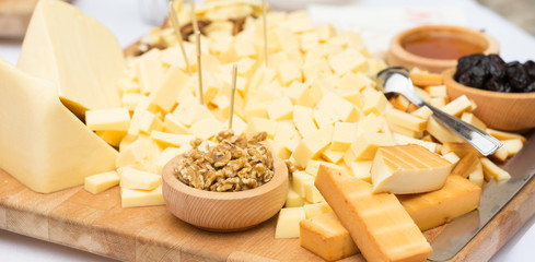 Cheese Plate with Dried Fruit and Honey