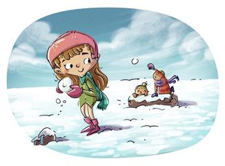 niña jugando con la nieve