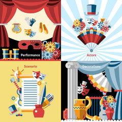 Theatre flat icon set