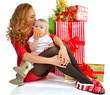 Christmas new year concept woman infant child baby presents