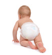 Leinwanddruck Bild - Child baby toddler crawling facing backwards from the back rear