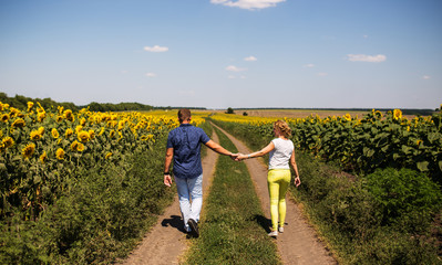Rear view of couple holding hands walking in summer countryside