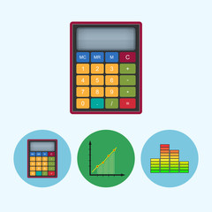 Set icons with  calculator, indicator, infographics, chart