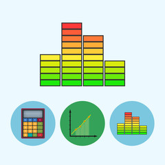 Set icons with calculator, indicator,chart, schedule