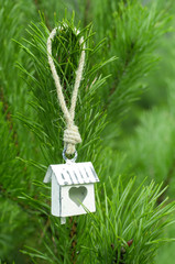White birdhouse on the pine branch