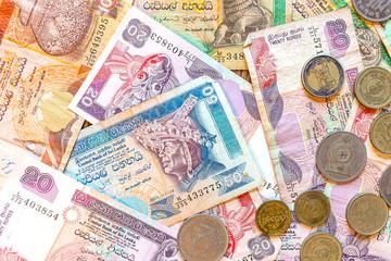 Sri Lanka money Rupee, banknotes and coins.
