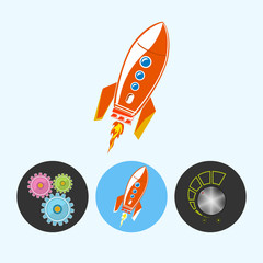 Set icons with gears, rocket , volume control , vector