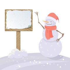 happy snowman with wooden sign