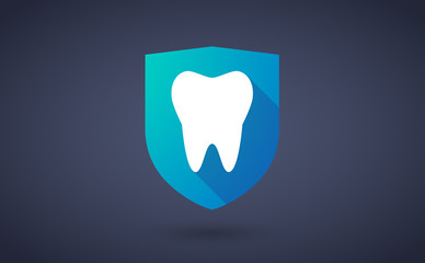 Long shadow shield icon with a tooth
