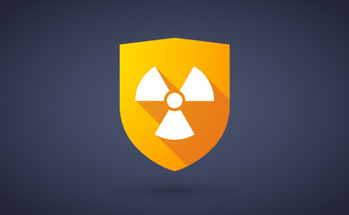 Long shadow shield icon with a radioactivity sign