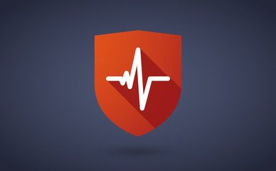 Long shadow shield icon with a heart beat sign