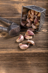 Garlic clove and press