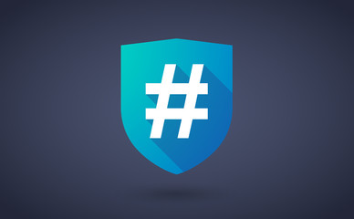 Long shadow shield icon with a hash tag