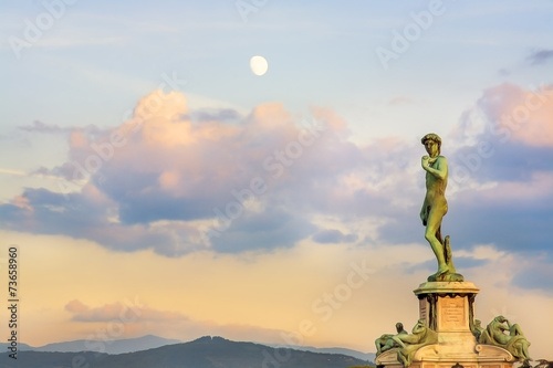 Poster Piazzale Donatello square full moon sunset clouds