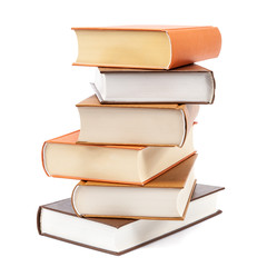 Books stacked on a white background.