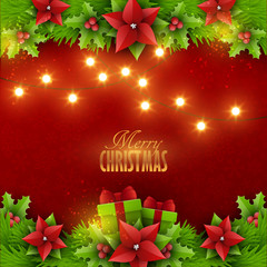 Christmas background with christmas lights