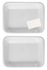 empty plastic wrapped food container with price label isolated