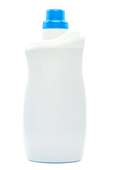 Bottle with liquid detergent on white background.