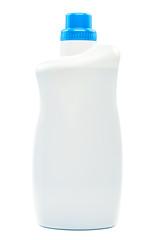 Bottle with liquid detergent on white background.
