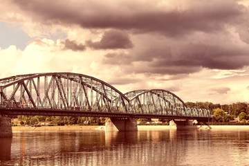 Bridge in Torun, Poland. Cross processed color tone.