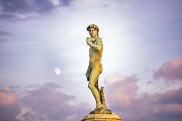 Piazzale Donatello square full moon sunset clouds