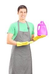 Male cleaner advertising a cleaning solution
