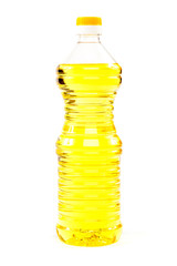 Vegetable oil in a bottle isolated on a white background.
