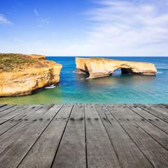 plank board with london bridge as background, Australia