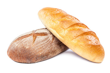 Bread on white background. Wheat and rye.