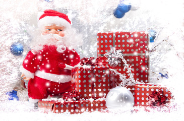 Santa Claus and the gifts.