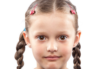 Face of a cute little girl isolated on white background.