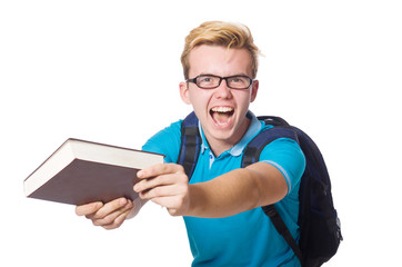 Angry student with books isolated on white