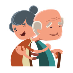 Vector illustration of a loving old couple
