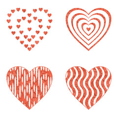 Valentine heart with patterns, set
