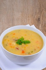 Fish chowder in a white bowl © Arena Photo UK