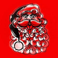 Vector Santa Claus Face. Greeting Card